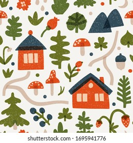 Vector seamless pattern with red houses, mushrooms, berries and leaves. Forest repeated texture with woodland landscape. Ornament with fairytale map for textile and wrapping paper. Scandinavian design