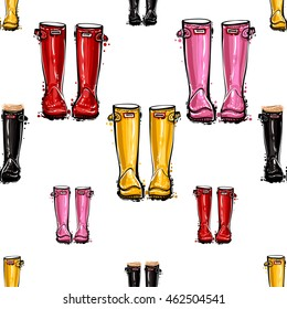 Vector seamless pattern with red hunter wellies, black hunter boots, yellow rubber boots, pink rubber wellies. Background for decoration seasonal celebration, greeting card and banner.