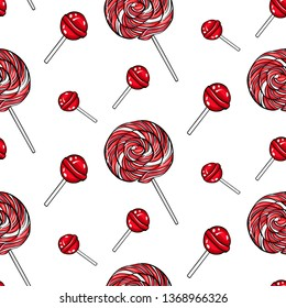 Vector seamless pattern red  lolipops on white background. Candy in pop art style.