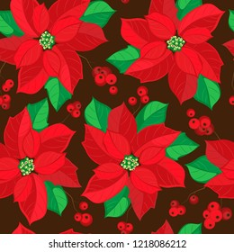 Vector seamless pattern of red poinsettia and branches with holly berries. Dark brown background