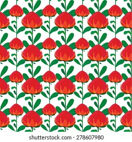 Vector seamless pattern of red waratah flower with green leaves. Unique and elegant floral background for website, digital scrapbooking, wallpapers, textile, upholstery and wrapping paper