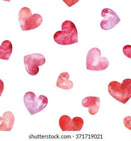 Vector Seamless pattern with red watercolor hearts. Background romantic design. Happy Valentine's day or wedding background.