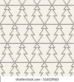 Vector seamless pattern. Regular monochrome texture. Geometric dotted Christmas trees. Simple minimalistic swatch.