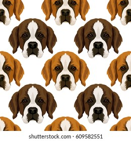 Vector seamless pattern with repeat st. Bernard dog face, design for fabric, or wrapping paper texture