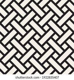 Vector seamless pattern. Repeating geometric black and white interlocking lines. Abstract lattice background design.