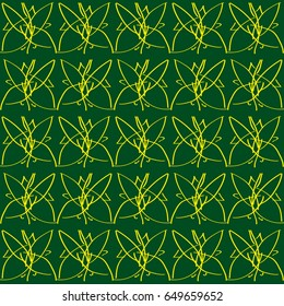 Vector seamless pattern. Repeating geometric texture.Yellow Orchid on green background.