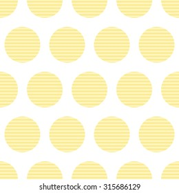 Vector seamless pattern with repeating round corrugated potato chips arranged in staggered rows and isolated on white background
