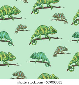 Vector seamless pattern with reptiles. Chameleon on a branch
