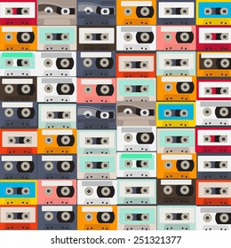 vector of Seamless pattern with retro audio tapes