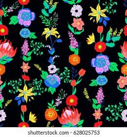 Vector seamless pattern. Retro flowers. Ranunculus, peonies, tulips, lilac, lavender, poppies, hellebories, fern, pieris japonica, clematis, king protea.