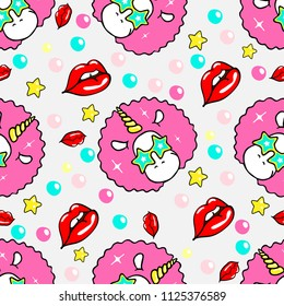 Vector seamless pattern with retro unicorn and lips