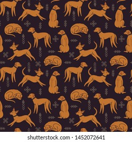 Vector seamless pattern with Rhodesian Ridgeback in sleeping, sitting, standing and running poses. Repeated texture with cute dogs. Vector background with animals. Fabric swatch with cartoon character