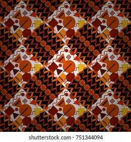 Vector seamless pattern with rhombus and tiles. Vintage decorative repainting art with ethnic motifs in white, orange and black colors. Abstract geometric squares with round symmetry.
