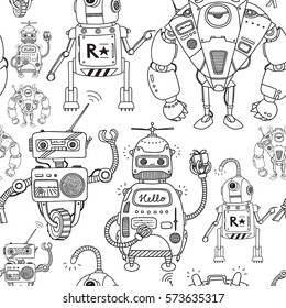 Vector seamless pattern with robots.