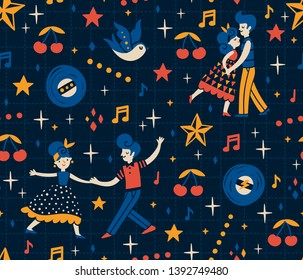 Vector seamless pattern with rockabilly dancers, vinyl records, swallows, stars and cherry. Retro repeated texture with dancing couples.