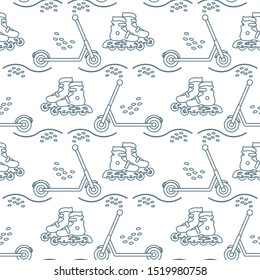 Vector seamless pattern with rollers, kick scooter. Athletic, healthy lifestyle for every person. Family vacation. Sports background. Design for packaging paper, fabric, print.