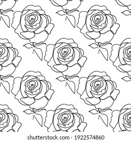 Vector seamless pattern with rose flowers outline on the white background.