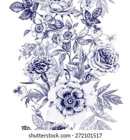 Flores Vintage Blanco Y Negro Stock Vectors Images Vector Art