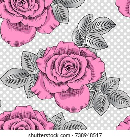 Vector seamless pattern with roses 1
