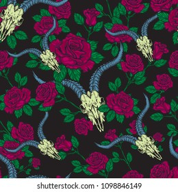 Vector seamless pattern with roses and animal stock skulls illustrations in engraving technique.