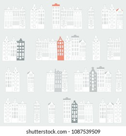 Vector seamless pattern with  rows of typical dutch canal houses  in Amsterdam, the Netherlands. Stylized facades of old buildings. EPS 8 stock vector.