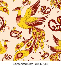 Vector seamless pattern with russian folklore fire-birds and traditional pattern