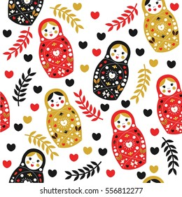 Vector seamless pattern in Russian style.