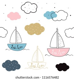 Vector seamless pattern with sailboat. Scandinavian motives. Children's print