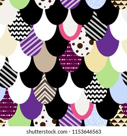 Vector seamless pattern. Scales with abstract ornament and local color.