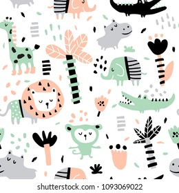 vector seamless pattern in scandinavian style, jungle animals