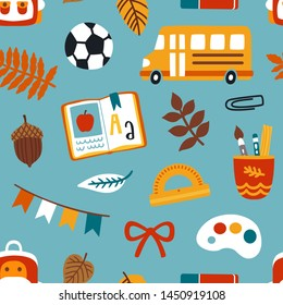 Vector seamless pattern with school elements: yellow school bus, ball, book, school bag, stationery and autumn leaves. Cute hand drawn repeated texture. Back to school background.