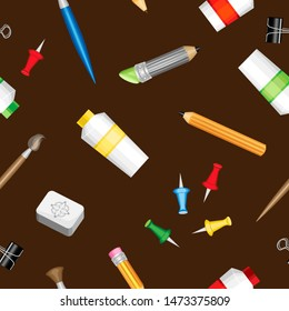 Vector seamless pattern. School items for drawing. Dark brown background