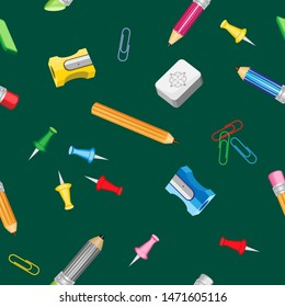 Vector seamless pattern of school and office supplies. Dark green background