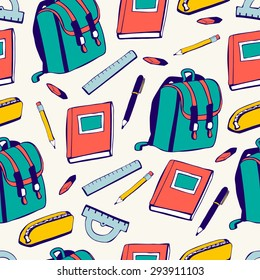 Vector seamless pattern School supplies. Green, blue, yellow and red elements on beige background. School bag, book, pencil, pen, ruler, eraser, protractor drawn in doodle style. Back to school theme.