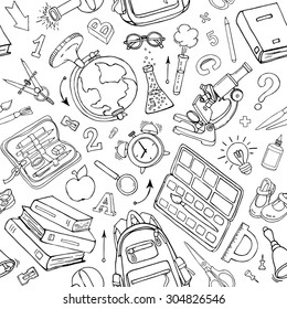 Vector seamless pattern of school supplies in notebook. Black and white back to school sketchy elements