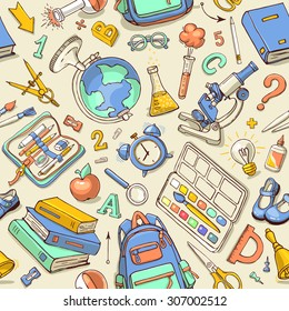 Vector seamless pattern of school supplies in notebook. Back to school colorful sketchy elements. Can be used for fabric, wallpaper, pattern fills, textile, web page background.