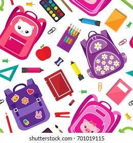Vector seamless pattern of school supplies, bags and stationery icons