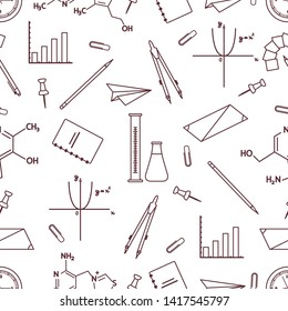 Vector seamless pattern with scientific, education elements: flasks, molecule structure, function graph, pencil, pen, clip, compasses. Design for websites, poster, apps, print.