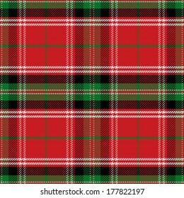 vector seamless pattern Scottish Stewart tartan, blue, white, green, red, yellow