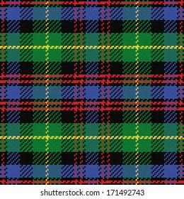 vector seamless pattern Scottish tartan Black Watch, black, red,green, yellow, blue