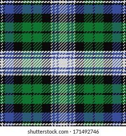 vector seamless pattern Scottish tartan Black Watch, black, white, blue, green
