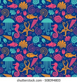 Vector seamless pattern with sea fauna. Background with starfish, sea horse, jellyfish, fish, crab, shell, nautilus. Abstract decorative cute illustration. Graphic design elements for print and web