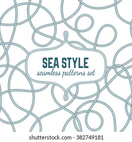 Vector seamless pattern in sea style.