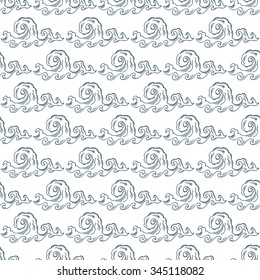 Vector Seamless pattern of Sea Waves - Hand drawn Doodles illustrations