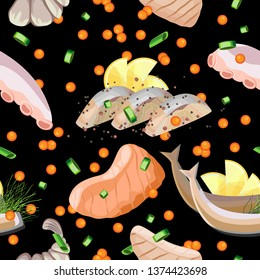 Vector seamless pattern of seafood, greens and red caviar. Black background