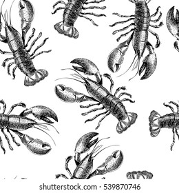 VEctor seamless pattern of seafood. Isolated lobster. Hand drawn engraved icons. Delicious food menu objects. Use for restaurant, promotion, market, store, banner