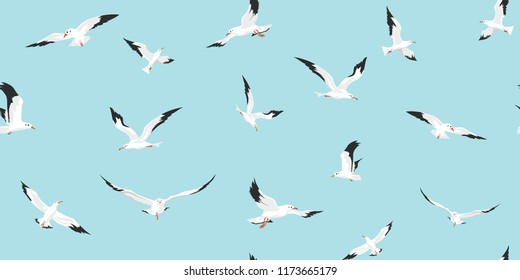 Vector seamless pattern with seagulls flying on blue sky background. Seamless with birds flying. Pattern for fabric, baby clothes, background, textile, wrapping paper and other decoration.