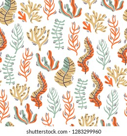 Vector Seamless Pattern with Seaweed and Corals. Hand Drawn Vector Illustration.