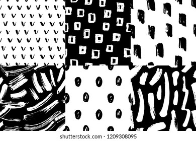 Vector seamless pattern set. Abstract hand drawn grunge ink textures. Creative freehand  background. Black and white. Modern trendy design with brush strokes, dots, spots.