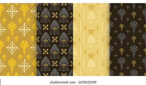 Vector seamless pattern. Set of background wallpaper in Chinese Japanese style. Colors: black, gold.
